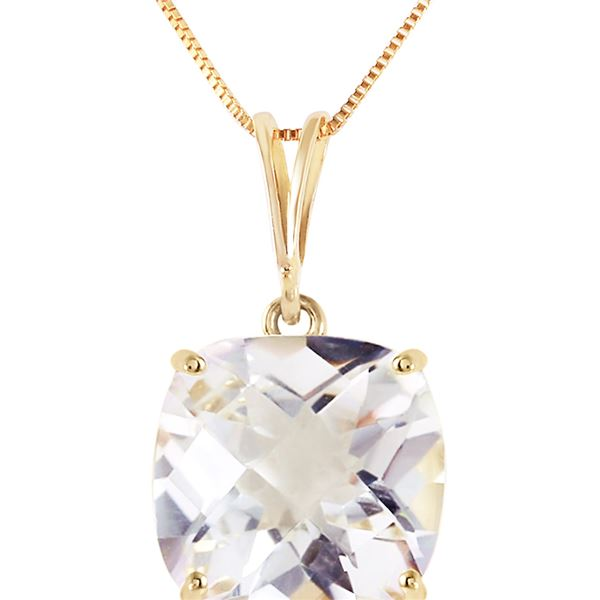 Genuine 3.6 ctw White Topaz Necklace 14KT Yellow Gold - REF-28N9R