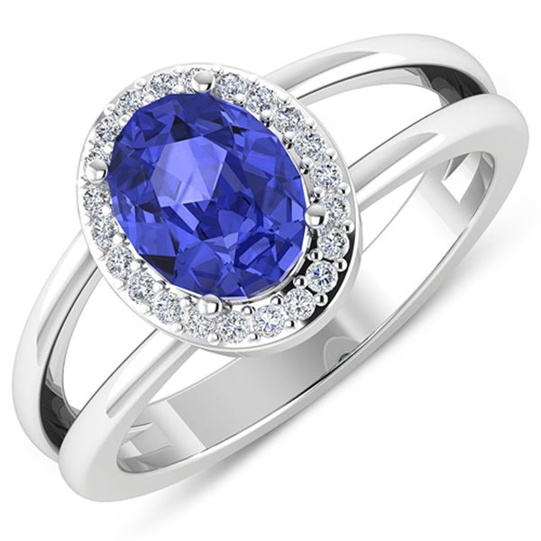 Natural 1.82 CTW Tanzanite & Diamond Ring 14K White Gold - REF-71M9T