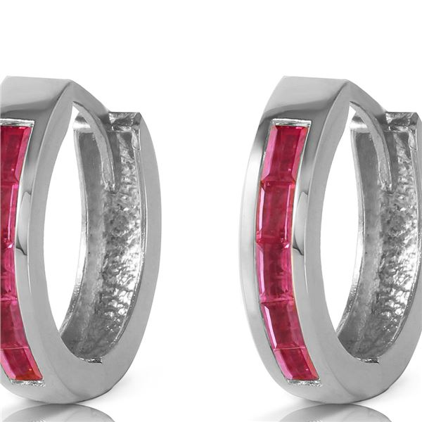 Genuine 1.30 ctw Ruby Earrings 14KT White Gold - REF-39H6X