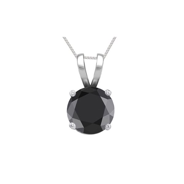 14K White Gold 0.77 ct Black Diamond Solitaire Necklace - REF-53X7F