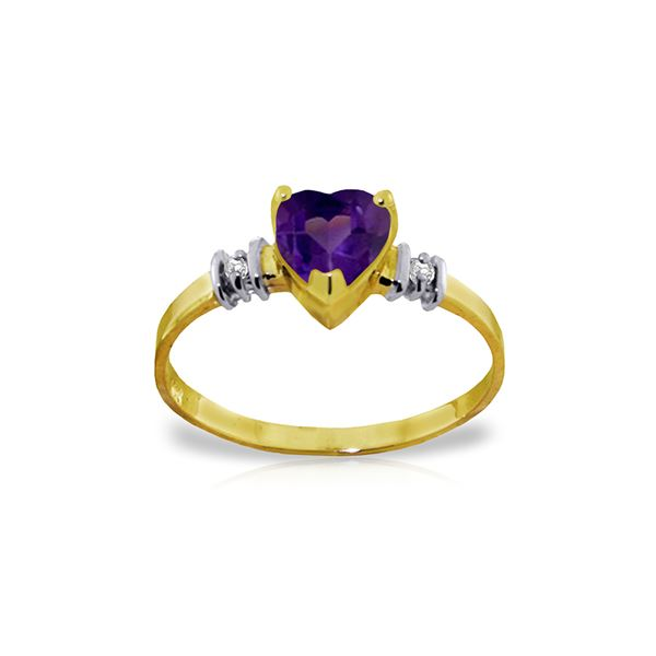 Genuine 0.98 ctw Amethyst & Diamond Ring 14KT Yellow Gold - REF-31Z2N