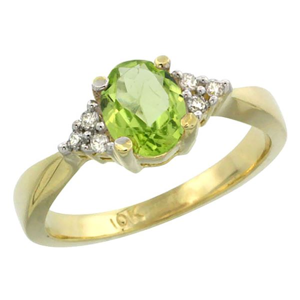 1.06 CTW Peridot & Diamond Ring 14K Yellow Gold - REF-36Y9V