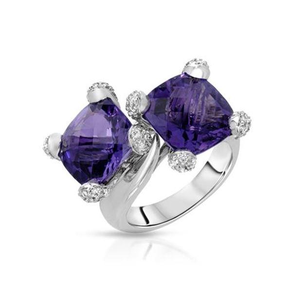 Natural 10.06 CTW Amethyst & Diamond Ring 14K White Gold - REF-98M3F