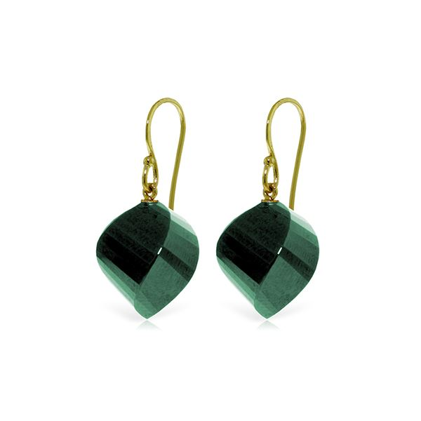 Genuine 30.5 ctw Green Sapphire Corundum Earrings 14KT Yellow Gold - REF-39V3W