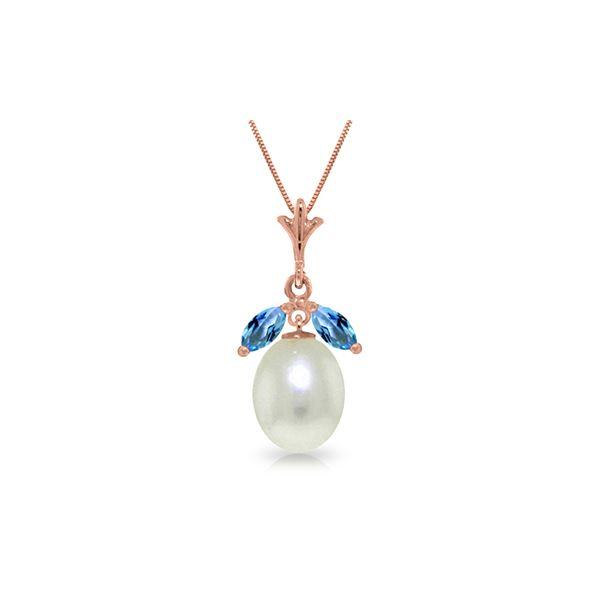 Genuine 4.5 ctw Blue Topaz Necklace 14KT Rose Gold - REF-24V3W