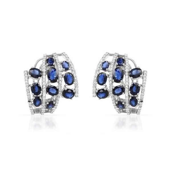 Natural 7.33 CTW Sapphire & Diamond Earrings 18K White Gold - REF-266Y4N