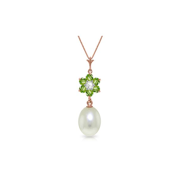 Genuine 4.53 ctw Pearl, Peridot & Diamond Necklace 14KT Rose Gold - REF-29Z7N