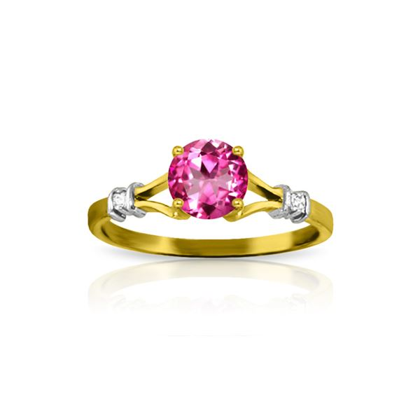 Genuine 1.02 ctw Pink Topaz & Diamond Ring 14KT Yellow Gold - REF-28N5R