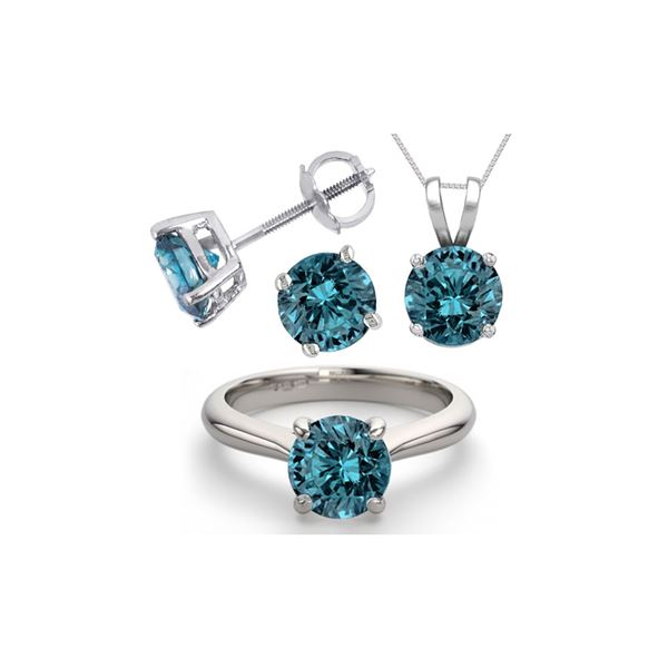14K White Gold SET 6.0CTW Blue Diamond Ring, Earrings, Necklace - REF-1349X5F