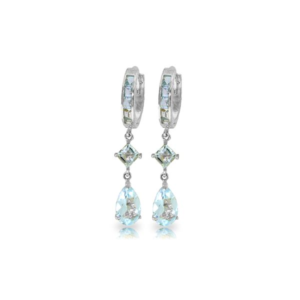 Genuine 5.62 ctw Aquamarine Earrings 14KT White Gold - REF-76H2X