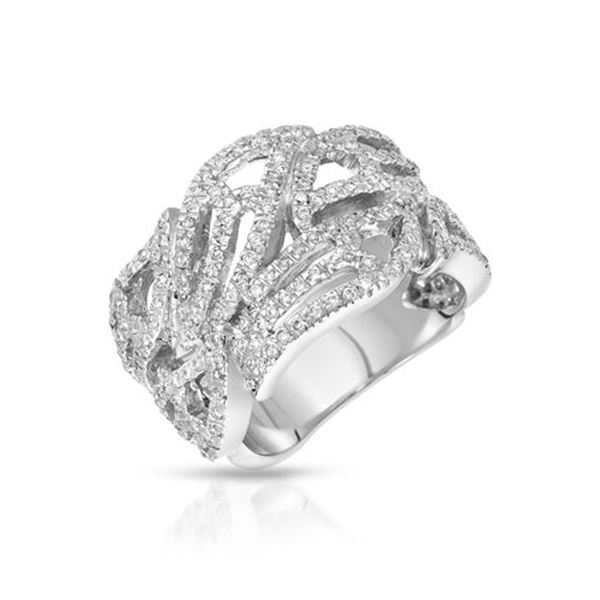 Natural 1.80 CTW Diamond Ring 18K White Gold - REF-218H7W