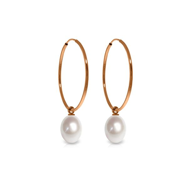 Genuine 8 ctw Pearl Earrings 14KT Rose Gold - REF-23H2X