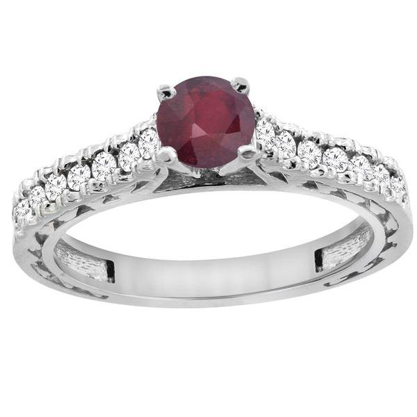 0.90 CTW Ruby & Diamond Ring 14K White Gold - REF-62Y7V