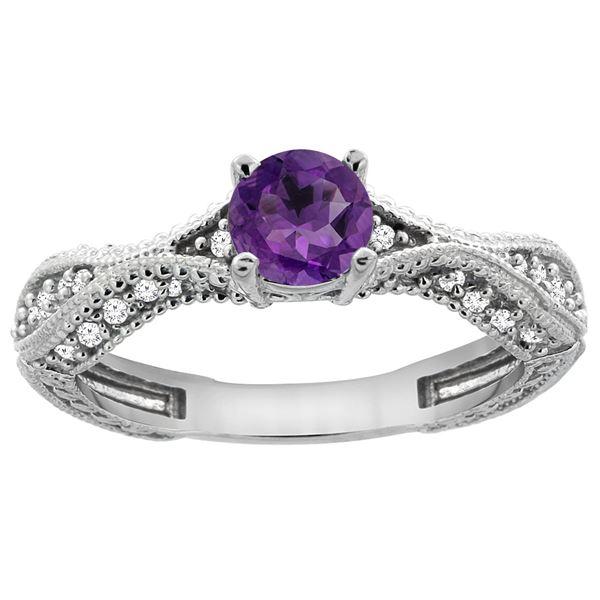 0.67 CTW Amethyst & Diamond Ring 14K White Gold - REF-67H7M