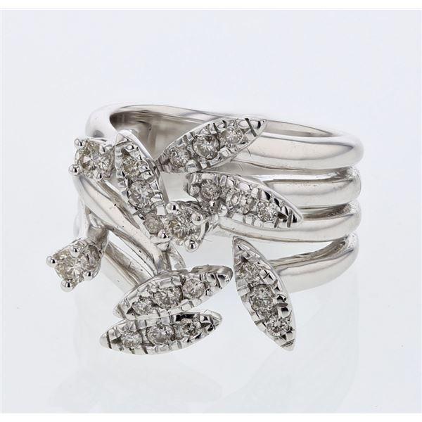 Natural 0.56 CTW Diamond Ring 14K White Gold - REF-122X4T