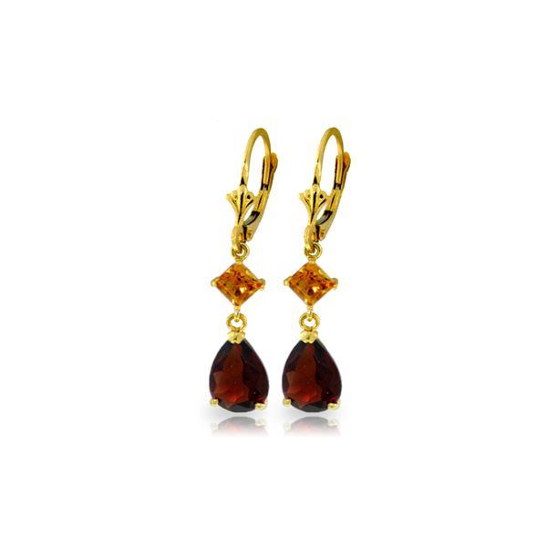 Genuine 4.5 ctw Garnet & Citrine Earrings 14KT Yellow Gold - REF-41M4T