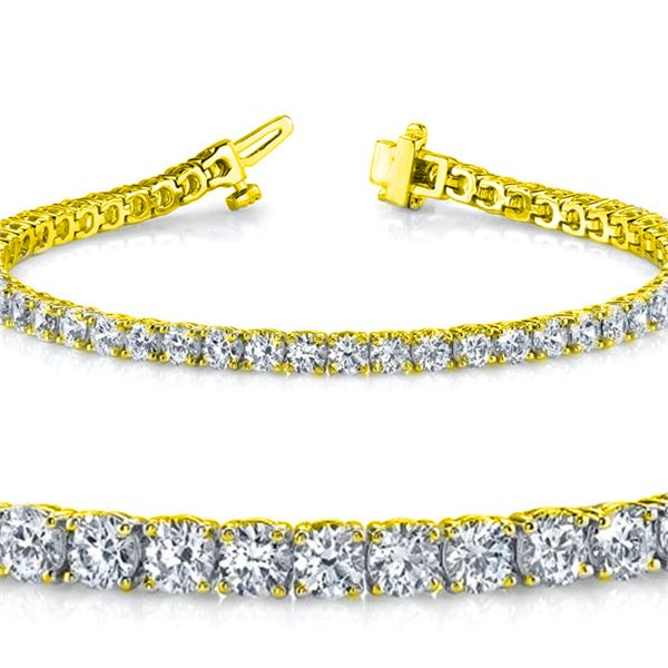 Natural 4.04ct VS2-SI1 Diamond Tennis Bracelet 18K Yellow Gold - REF-348X5F