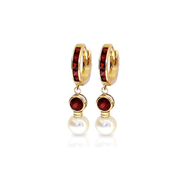 Genuine 4.3 ctw Garnet & Pearl Earrings 14KT Yellow Gold - REF-47W5Y