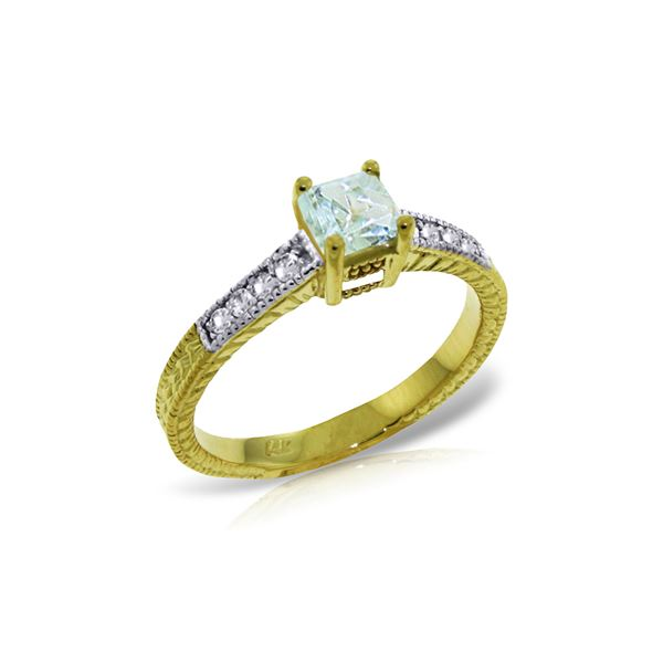 Genuine 0.65 ctw Aquamarine & Diamond Ring 14KT Yellow Gold - REF-71V3W