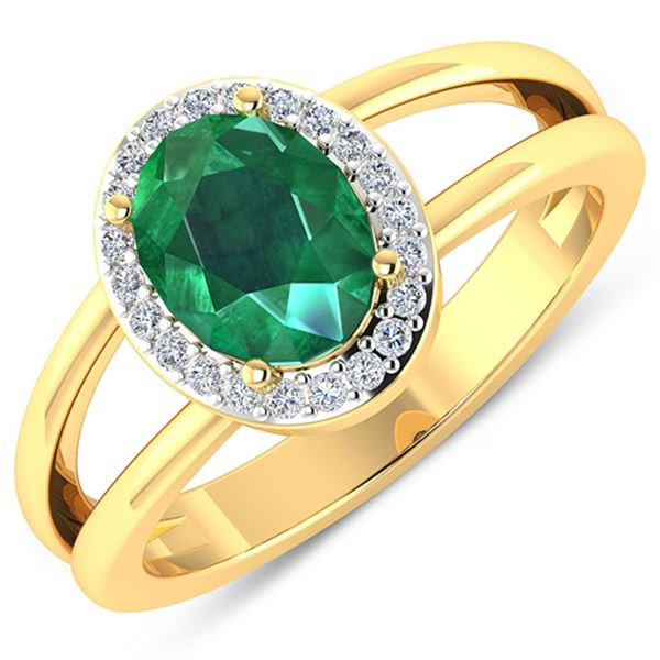 Natural 1.87 CTW Zambian Emerald & Diamond Ring 14K Yellow Gold - REF-88W9X