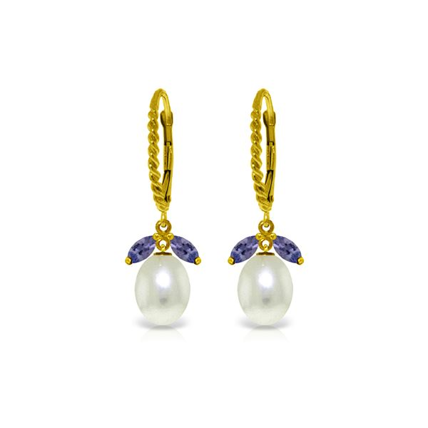 Genuine 9 ctw Tanzanite & Pearl Earrings 14KT Yellow Gold - REF-47H3X