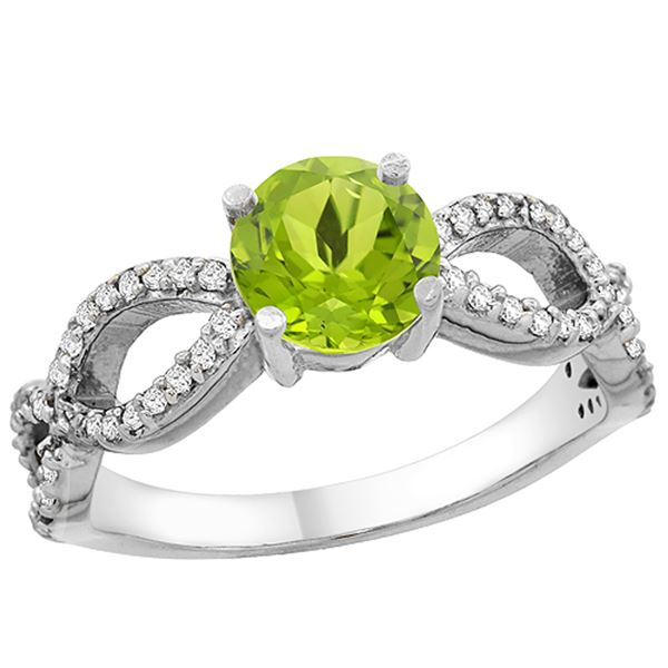 1 CTW Peridot & Diamond Ring 14K White Gold - REF-49M6A