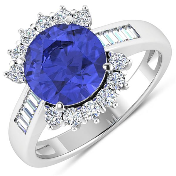 Natural 3.48 CTW Tanzanite & Diamond Ring 14K White Gold - REF-143R7F