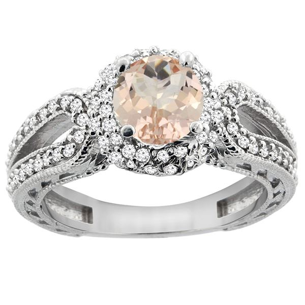 1.20 CTW Morganite & Diamond Ring 14K White Gold - REF-89A7X