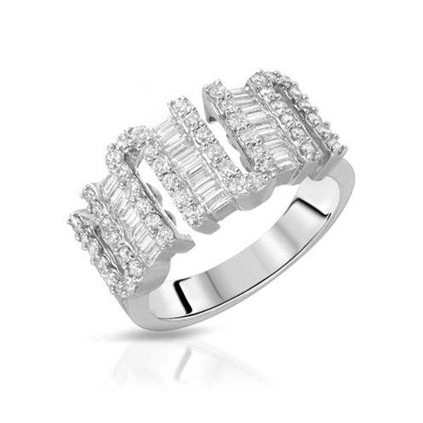 Natural 1 CTW Diamond & Baguette Ring 14K White Gold - REF-143R3K