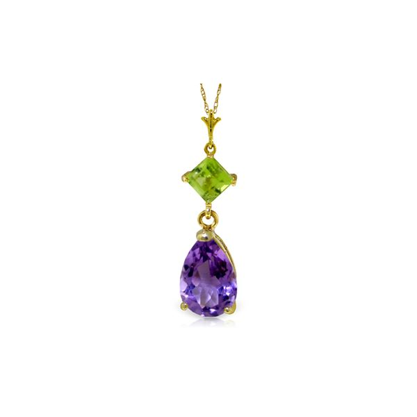 Genuine 2 ctw Amethyst & Peridot Necklace 14KT Yellow Gold - REF-24Y3F