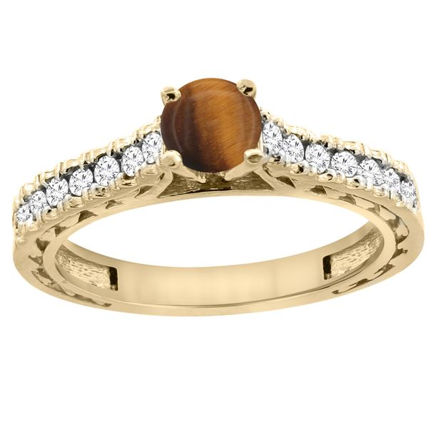 0.90 CTW Tiger Eye & Diamond Ring 14K Yellow Gold - REF-62X5M