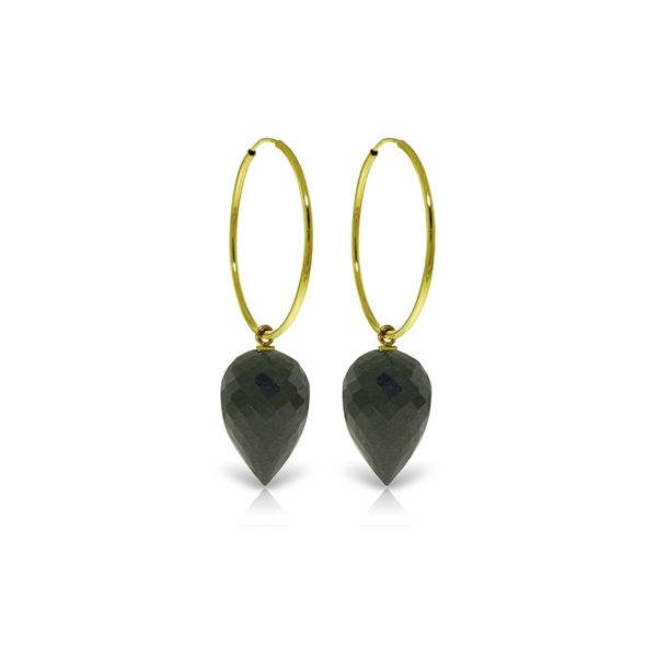 Genuine 24.5 ctw Black Spinel Earrings 14KT Yellow Gold - REF-36K2V