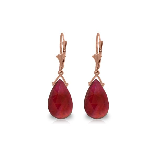 Genuine 16 ctw Ruby Earrings 14KT Rose Gold - REF-85R2P