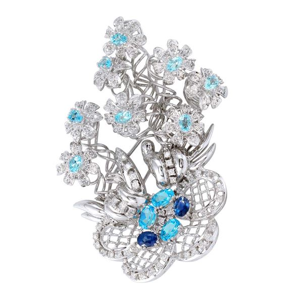 Natural 6.19 CTW Sapphire & Diamond Brooch 18K White Gold - REF-430X2T