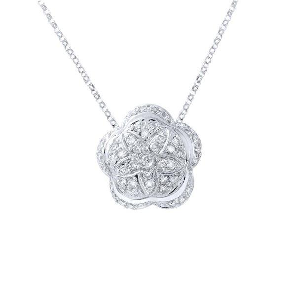 Natural 0.80 CTW Diamond Necklace 14K White Gold - REF-79F2M