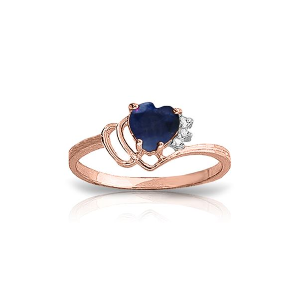 Genuine 1.02 ctw Sapphire & Diamond Ring 14KT Rose Gold - REF-35Y5F