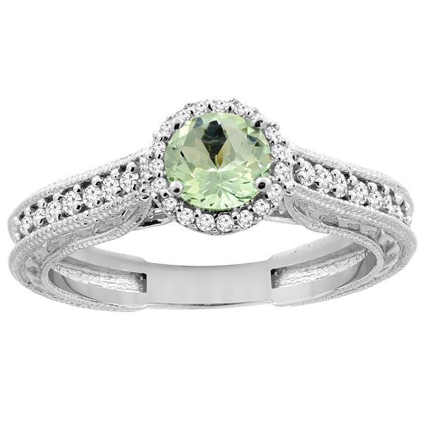 0.99 CTW Amethyst & Diamond Ring 14K White Gold - REF-57A2X