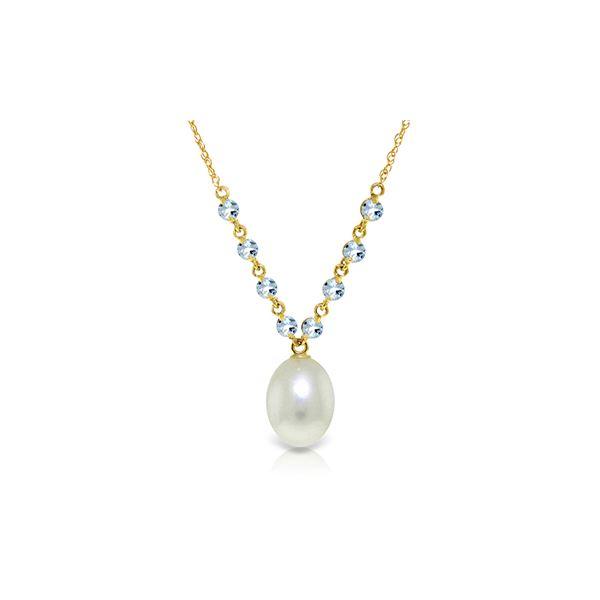 Genuine 5 ctw Pearl & Aquamarine Necklace 14KT Yellow Gold - REF-26X9M