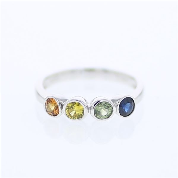 Natural 0.89 CTW Multi-Sapphire Ring W=4MM 14K Gold - REF-36F2M