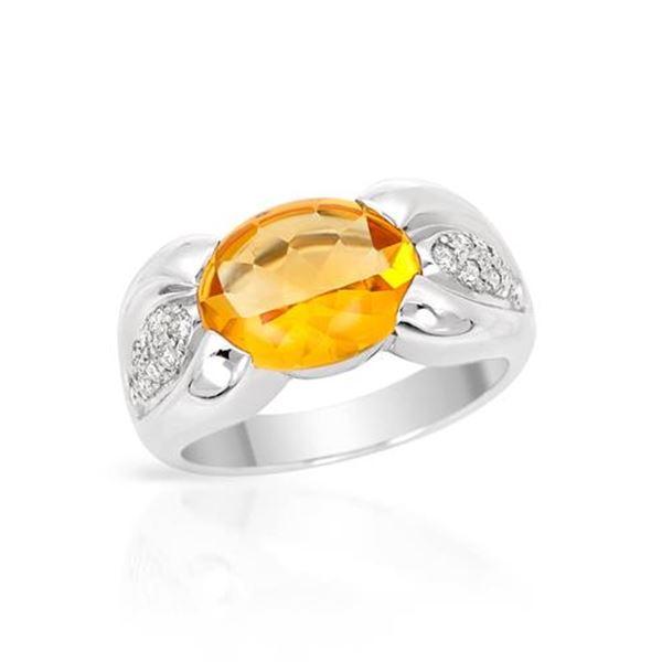 Natural 3.58 CTW Citrine & Diamond Ring 14K White Gold - REF-54F9M