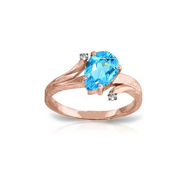 Genuine 1.51 ctw Blue Topaz & Diamond Ring 14KT Rose Gold - REF-51K4V