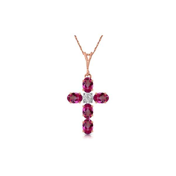 Genuine 1.88 ctw Pink Topaz & Diamond Necklace 14KT Rose Gold - REF-39P8H