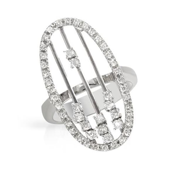 Natural 0.67 CTW Diamond Ring 18K White Gold - REF-145F8M