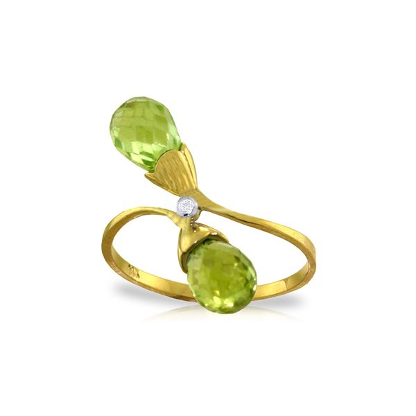 Genuine 2.52 ctw Peridot & Diamond Ring 14KT Yellow Gold - REF-25X6M