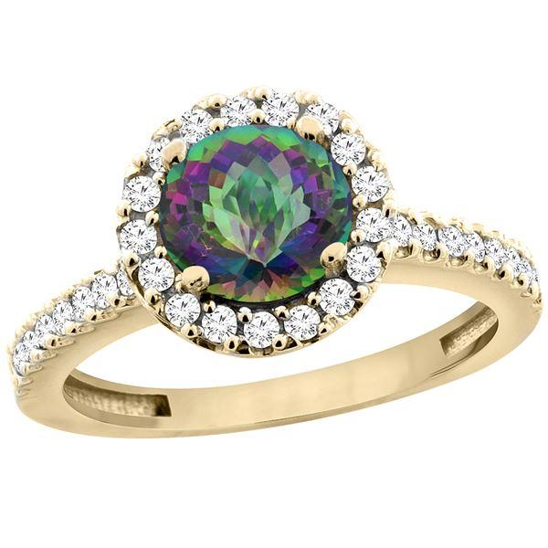 1.38 CTW Mystic Topaz & Diamond Ring 10K Yellow Gold - REF-54M4K