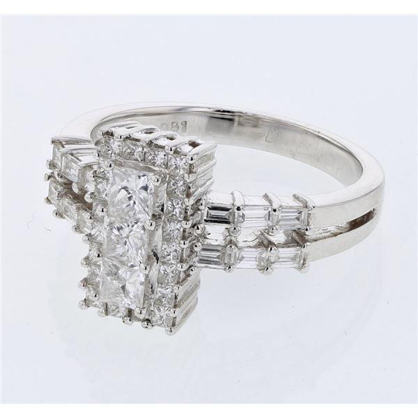 Natural 1.15 CTW Princess Diamond & Baguette Ring 18K White Gold - REF-167N4Y