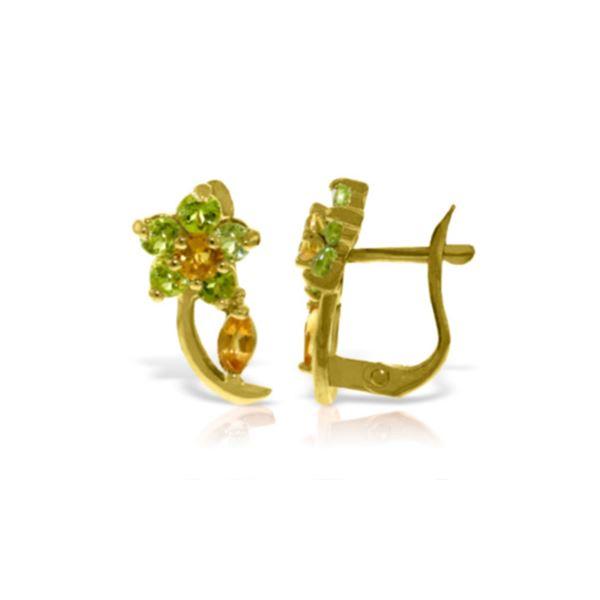 Genuine 1.72 ctw Citrine & Peridot Earrings 14KT Rose Gold - REF-40P5H
