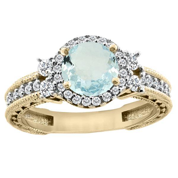 1.46 CTW Aquamarine & Diamond Ring 14K Yellow Gold - REF-76V9R