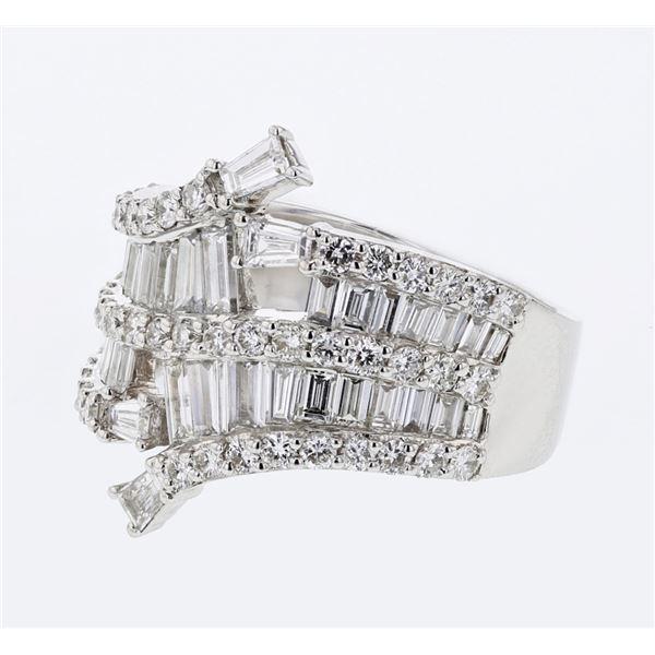 Natural 2.03 CTW Baguette & Diamond Ring 18K White Gold - REF-268N2Y