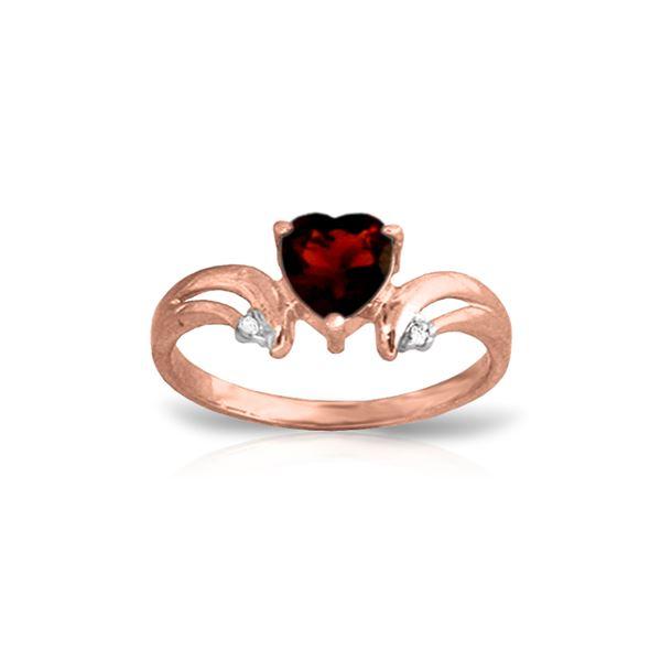 Genuine 1.26 ctw Garnet & Diamond Ring 14KT Rose Gold - REF-42V2W